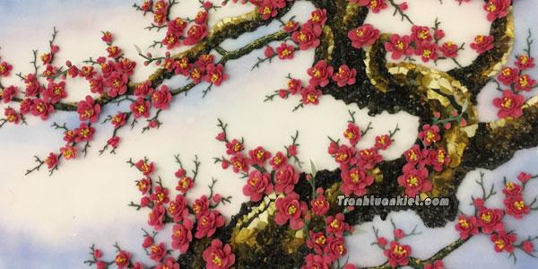Tranh đá quý - Hoa đào