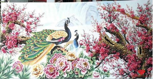 Những bức tranh đá quý chim công và hoa mẫu đơn đẹp