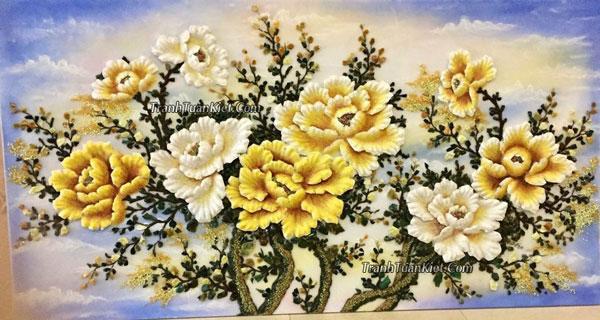 Đi tìm ý nghĩa sâu xa của bức tranh đá quý hoa mẫu đơn 9 bông