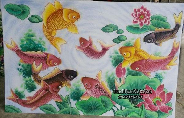 """Ý nghĩa của bức tranh """"Cá chép và hoa sen"""" – """"Cửu Ngư Quần Hội"""" và cách treo đúng phong thủy"""