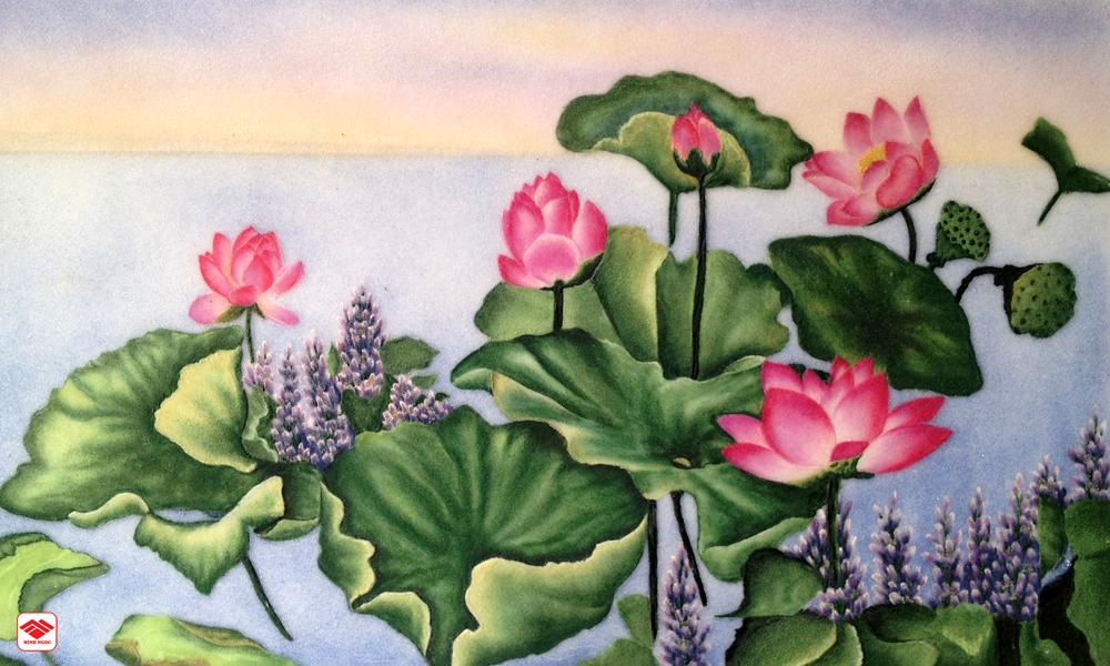 Ý nghĩa của tranh đá quý hoa sen | Vị trí treo tranh hoa sen đẹp