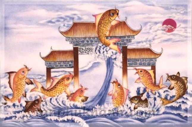 Ý nghĩa của bức tranh đá quý Cá chép vượt vũ môn