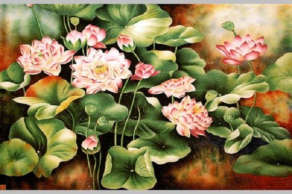 Tranh đá quý hoa sen và ý nghĩa của việc treo tranh hoa sen trong nhà