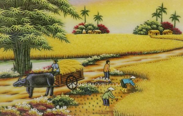 Tranh làng quê Việt Nam đem đến không gian thiên nhiên mới lạ cho căn phòng