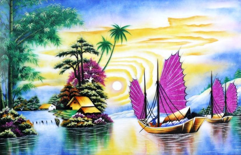 Những bức tranh đá quý phong thủy dành cho người mệnh Thủy