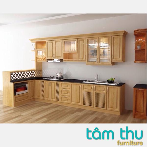 Mẫu tủ bếp gỗ sồi đẹp hiện đại cho chủ nhà cá tính