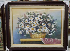 Tranh đá quý giỏ hoa cúc