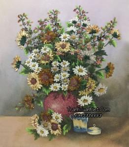 Tranh đá quý lọ hoa cúc